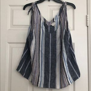 Multi color stripe sleeveless shirt